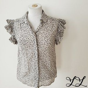 French Connection Top Shirt Gray Off White Ruffles